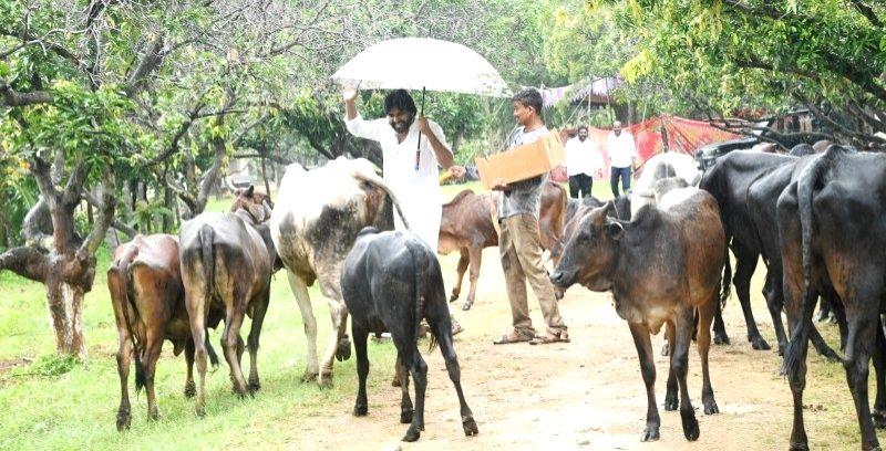 "Jana Sena Party chief Pawan Kalyan at the inauguration of a plantation drive ""Vana Rakhana"" during Van Moahotsav celebrations organised by the party, in Hyderabad on Oct 29, 2019."
