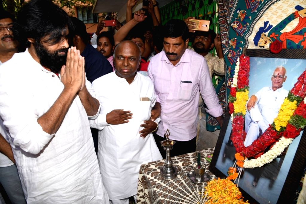 Jana Sena Party chief Pawan Kalyan pays tributes to the party's Late Nandyal MP SPY Reddy who passed away recently, during his visit to the leader's residence to pay his condolences, in ...