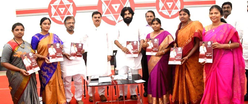 Jana Sena Party chief Pawan Kalyan with party leaders during Jana Sena Party meeting, in Andhra Pradesh's Mangalagiri, on May 12, 2019.