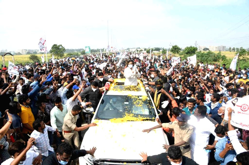 JanaSena Party President Pavan Kalyan during his visit to the Krishna district to meet the victims of Cyclone Nivar, on Dec 2, 2020.