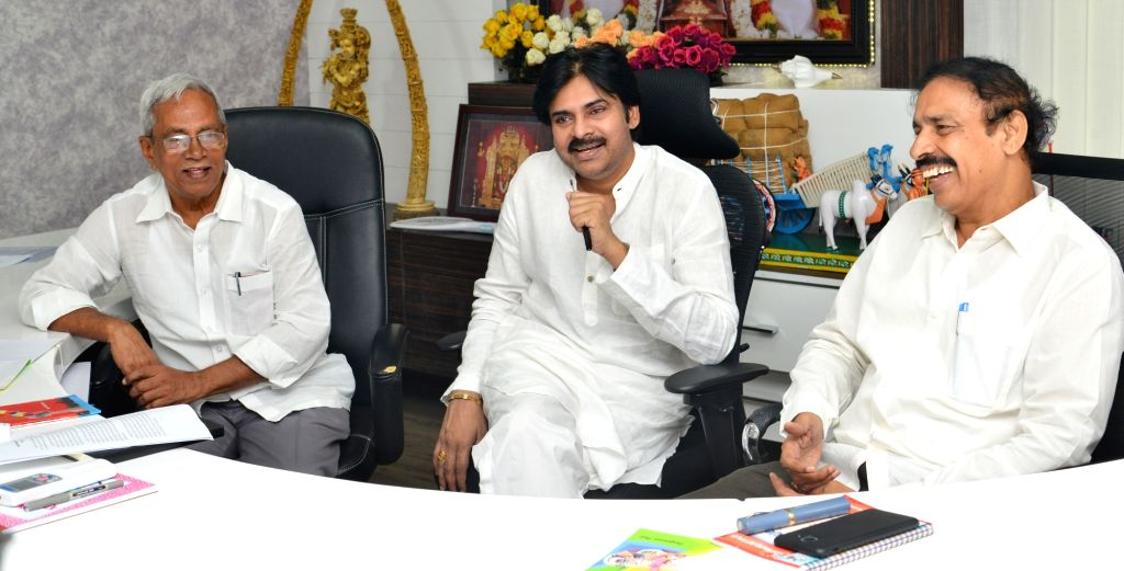 Janasena President  Pawan Kalyan meeting with CPI, CPM leaders in Vijayawada.