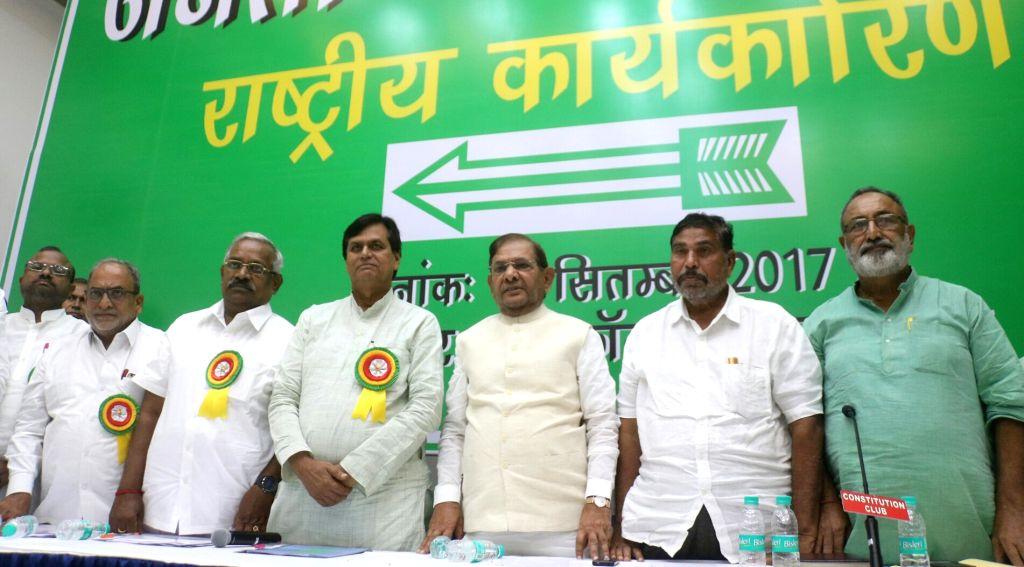 Janata Dal-United (JD-U) rebel leader Sharad Yadav along with senior leaders at JD-U's Executive Committee meeting in New Delhi on Sept 17, 2017. - Sharad Yadav