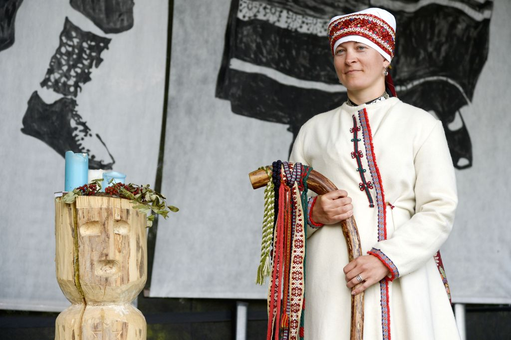 Jane Vabarna is elected as this year's King of Seto during the Seto Kingdom celebration in Obinitsa, Estonia, Aug. 2, 2015. This year's Seto Kingdom celebration is ...