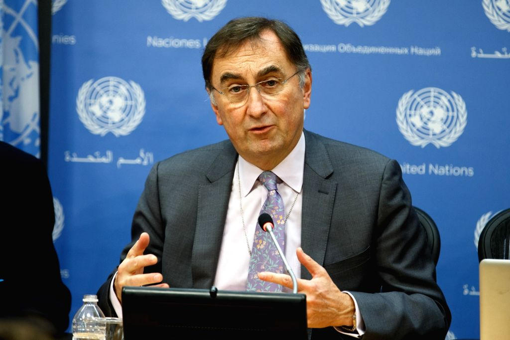 Janos Pasztor, United Nations Assistant Secretary-General on Climate Change, speaks to the media during a press conference at the UN headquarters in New York, Nov. ...