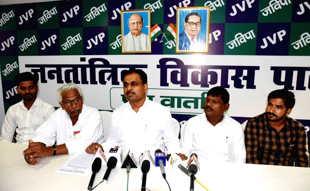 Jantantrik Vikas Party President Anil Kumar addresses a press conference in Patna on Sep 6, 2019. - Kumar