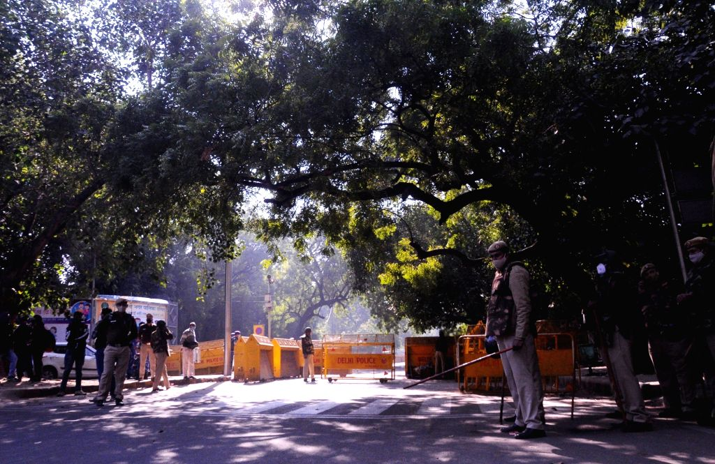 Jantar Mantar remains closed for the second consecutive day in the wake of farmers' protest against the Centre's three Farm Laws, in New Delhi on Nov 27, 2020. There are 32 unions of ...