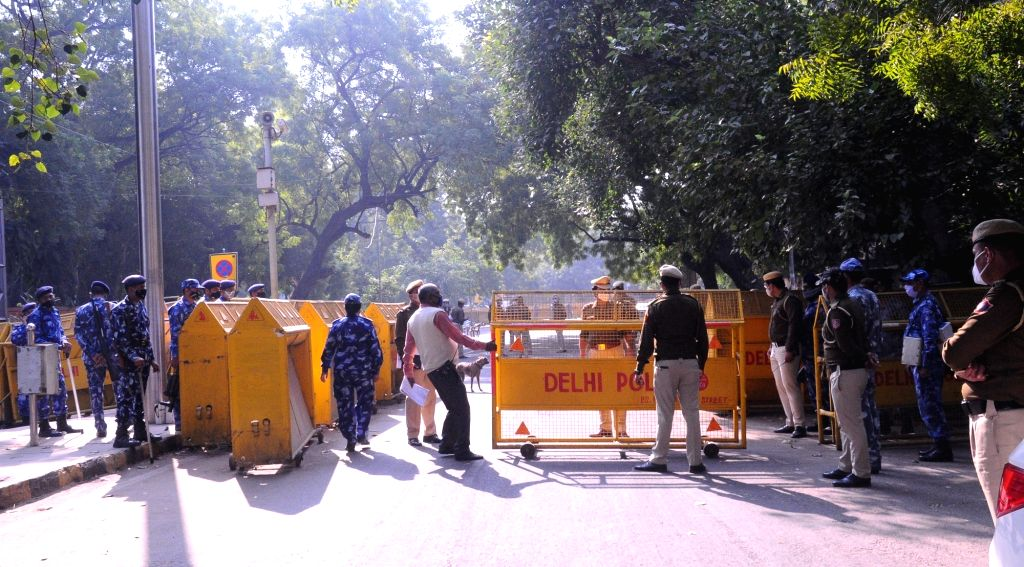 Jantar Mantar was closed by the Delhi police with heavy security deployment in view of the 'Dilli Chalo' call given by various farmers' outfits against the three Central Farm Bills, in New ...