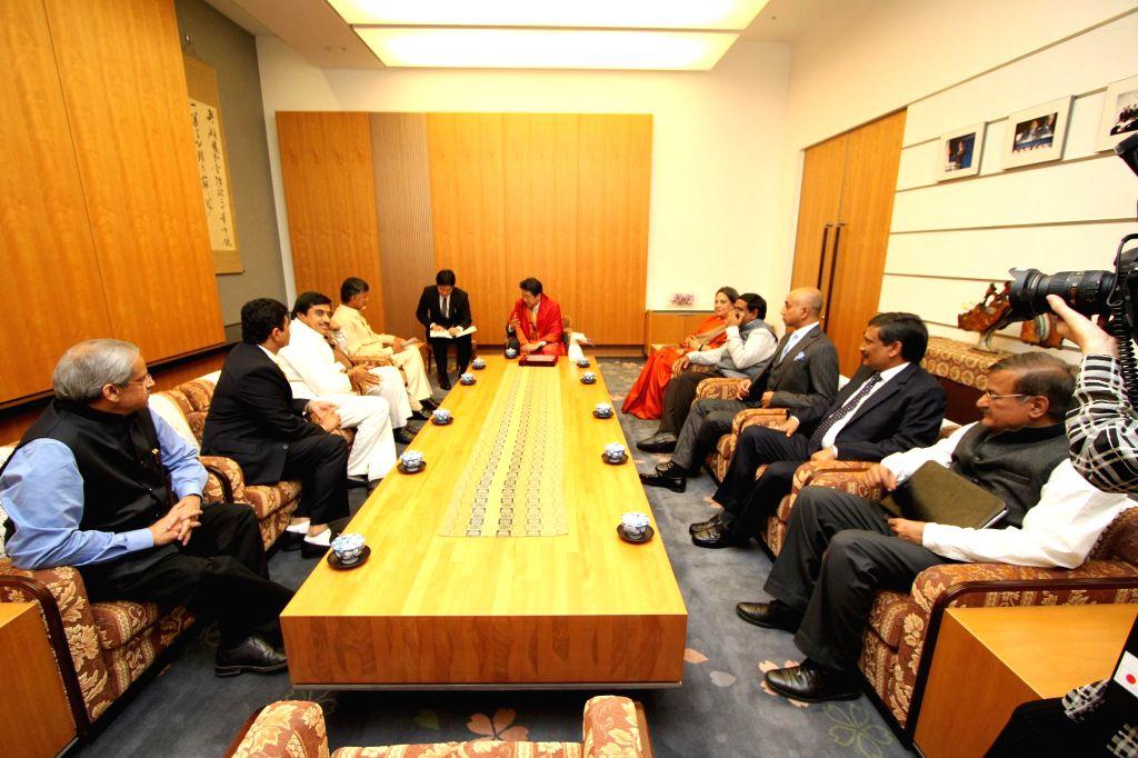 Andhra Pradesh Chief Minister N. Chandrababu Naidu calls on Japan Prime Minister Shinzo Abe during his Japan visit. - N. Chandrababu Naidu