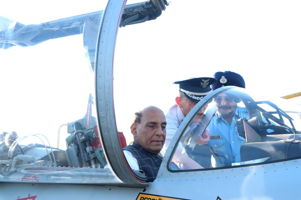 Japan: Defence Minister Rajnath Singh briefed about the functioning of F-15 fighter aircraft and the trainer plane at Hamamatsu Air Base in Japan's Shizuoka Prefecture on Sep 3, 2019. (Photo: IANS/DPRO) - Rajnath Singh