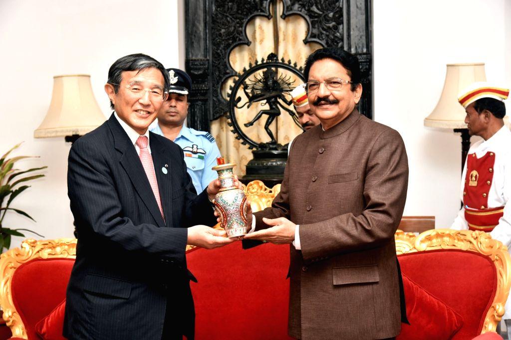 Japan's Wakayama prefecture Governor Yoshinobu Nisaka calls on Maharashtra Governor C.V. Rao at Raj Bhavan in Mumbai on Jan 30, 2018. - V. Rao