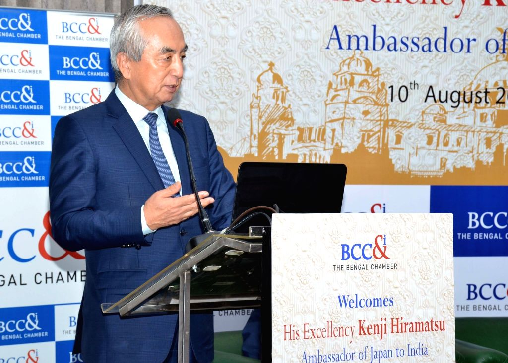 Japanese Ambassador to India Kenji Hiramatsu addresses during an interactive session organised by  Bengal Chamber of Commerce and Industry, in Kolkata on Aug 10, 2019.