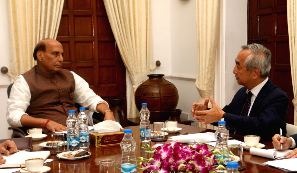 Japanese Ambassador to India Kenji Hiramatsu calls on Defence Minister Rajnath Singh, in New Delhi on Aug 27, 2018. - Rajnath Singh