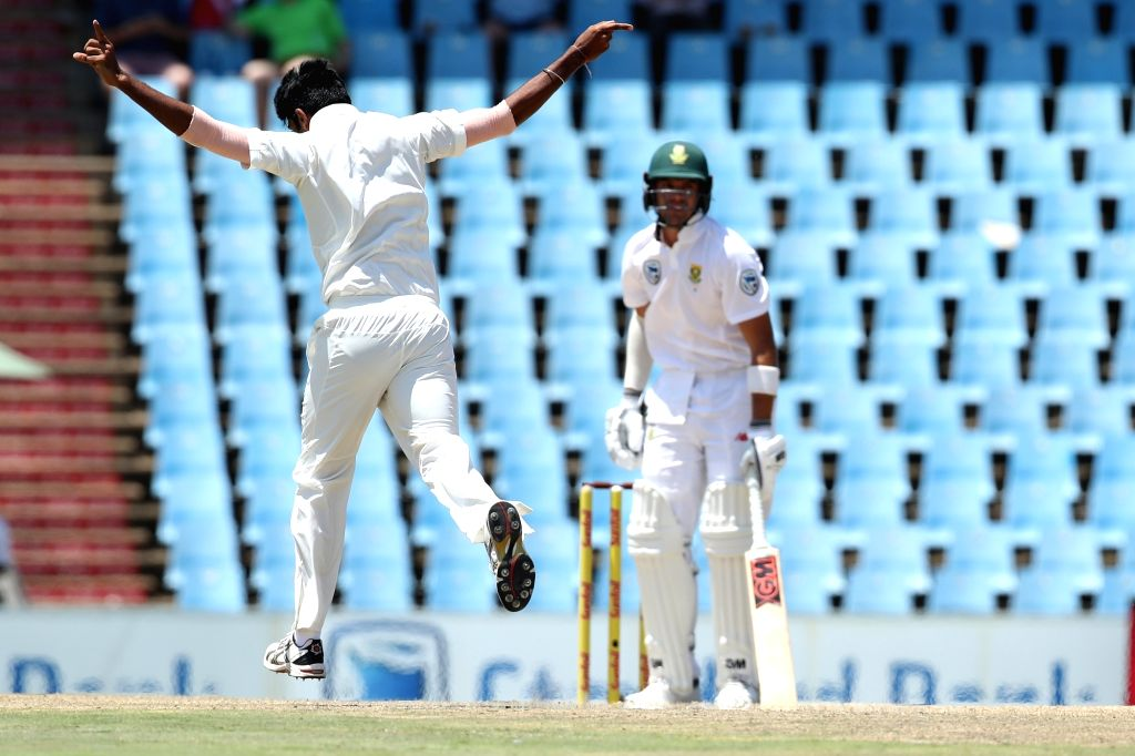Jasprit Bumra of India celebrates fall of Aiden Markram's wicket during day 3 of the second Test match between South Africa and India at the Supersport Park Cricket Ground in Centurion, ...