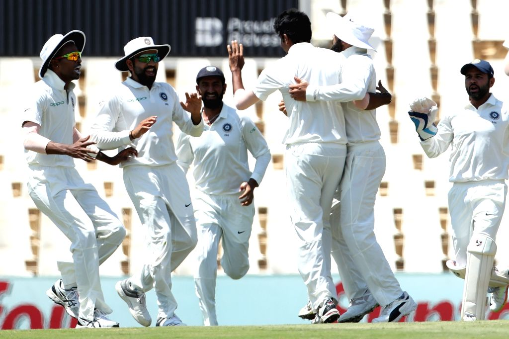Jasprit Bumra of India celebrates fall of Hashim Amla's wicket during day 3 of the second Test match between South Africa and India at the Supersport Park Cricket Ground in Centurion, ...