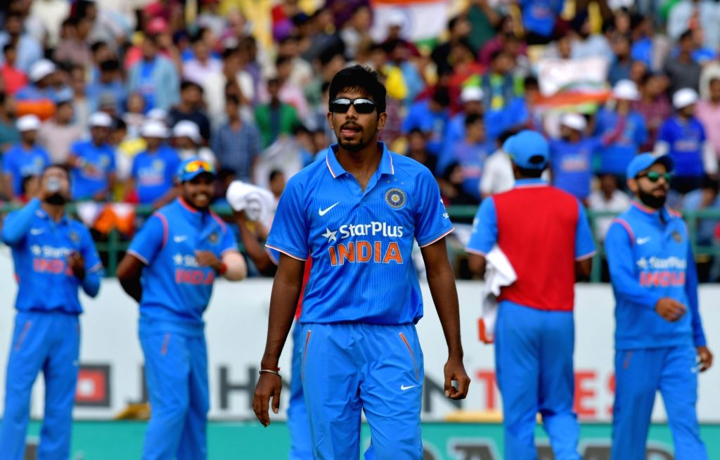 Jasprit Bumrah of India celebrates fall of a wicket during the first One Day International match between India and New Zealand at Himachal Pradesh Cricket Association Stadium in ...