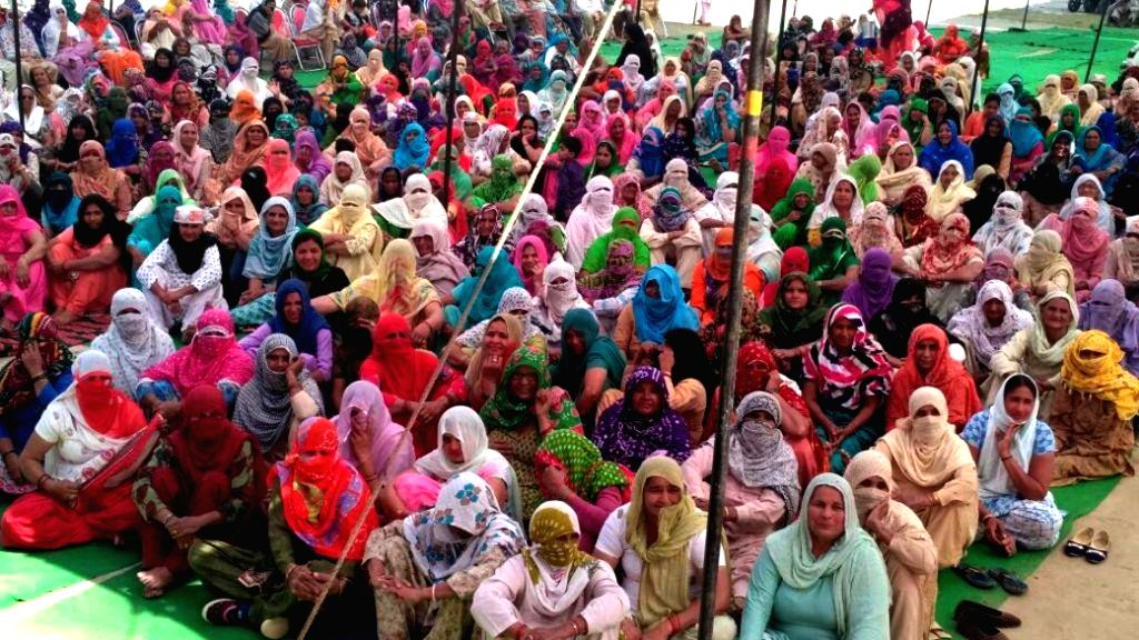 Jat protesters stage a demonstration to press for reservations in government jobs in Haryana on March 4, 2017.