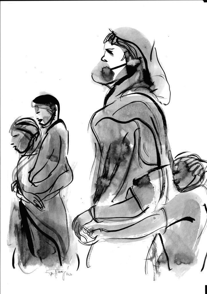 Jatin Das ink-paints 2020's migrant worker crisis.(photo:ianslife)