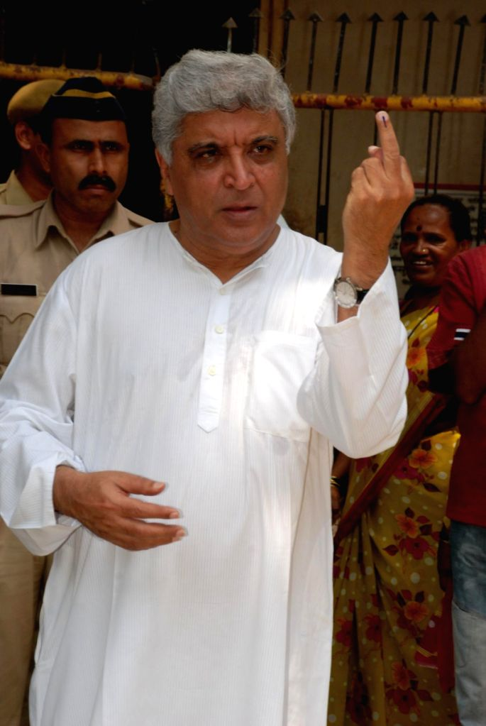 Javed Akhtar after casting his vote in Mumbai.
