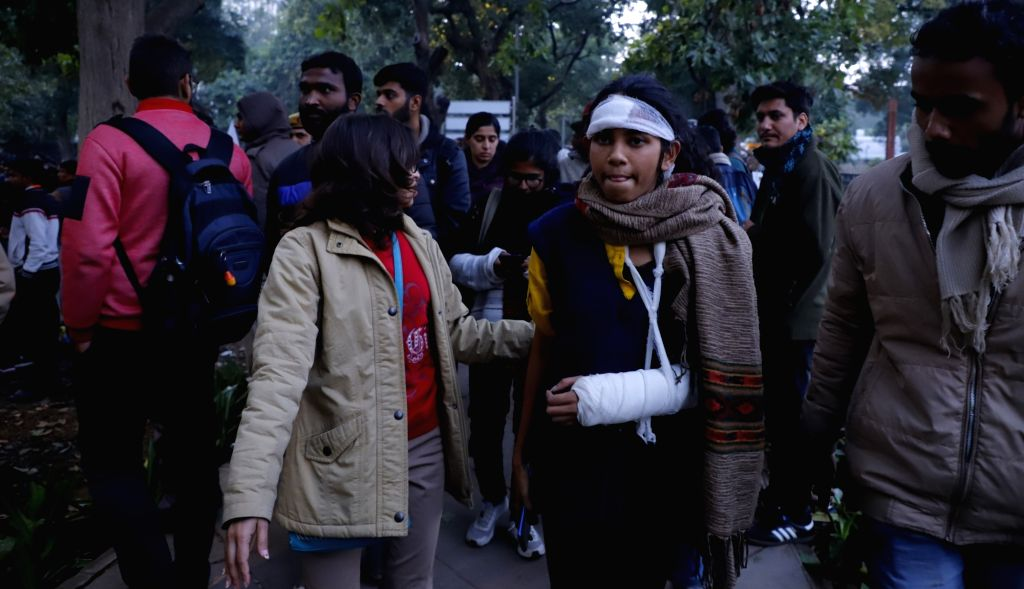 Jawaharlal Nahru University Students Union (JNUSU) President Aishe Ghosh comes out after meeting the officials of the Ministry of Human Resource Development to put forth the students' ... - Aishe Ghosh