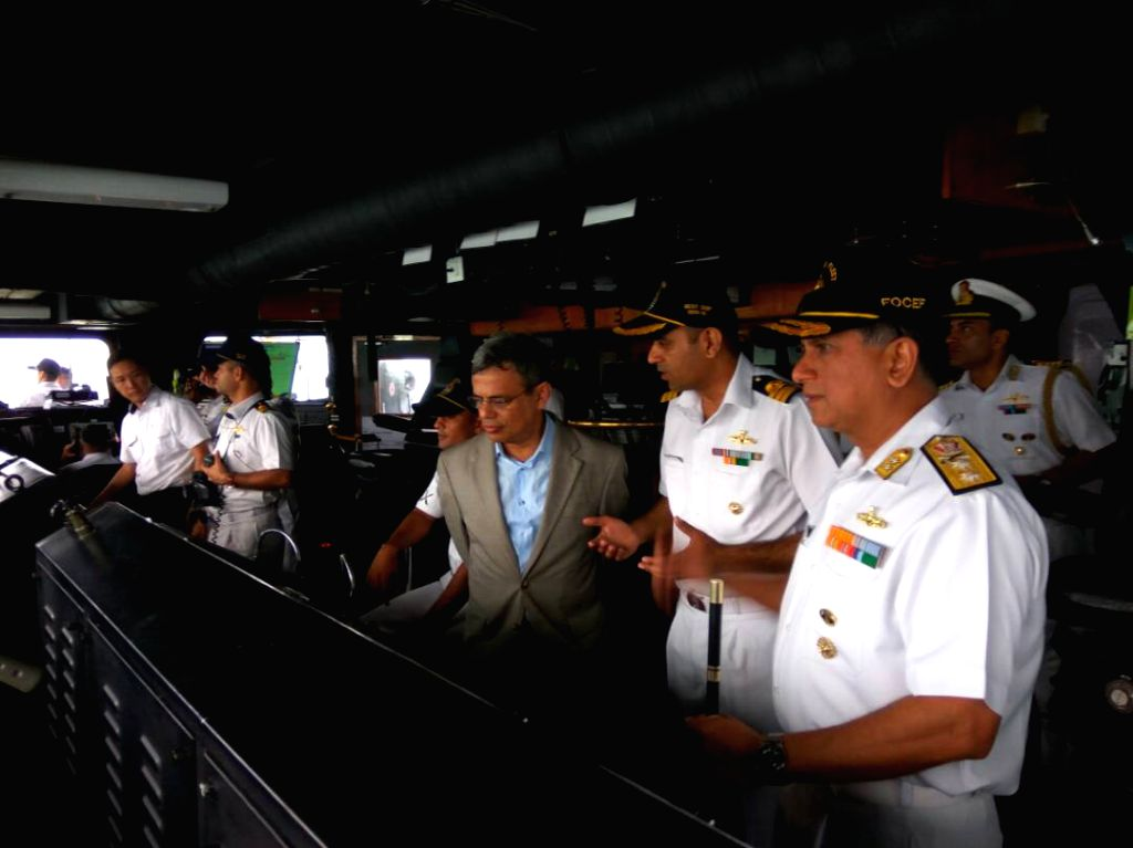 Jawed Ashraf the high commissioner of India in Singapore onboard INS Sahyadri while entering harbour