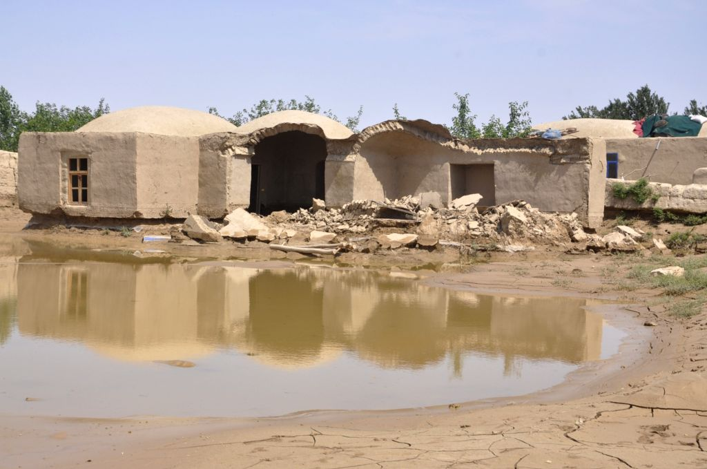 JAWZJAN (AFGHANISTAN), May 22, 2018 Photo taken on May 22, 2018 shows destroyed mud houses after flood in Faizabad district of northern Jawzjan province, Afghanistan, May 22, 2018. ...