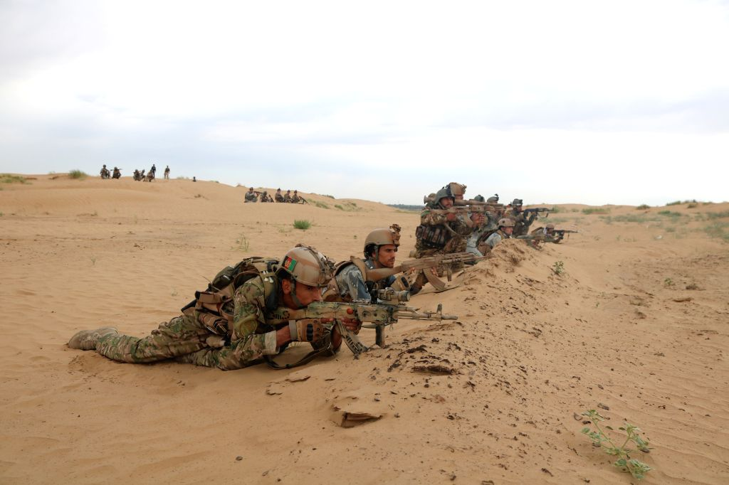 JAWZJAN, May 26, 2019 (Xinhua) -- Members of the Afghan security force take part in an operation in Jawzjan province, Afghanistan, May 25, 2019. Fighting rages across the war-torn country and clashes between security forces and Taliban have been cont