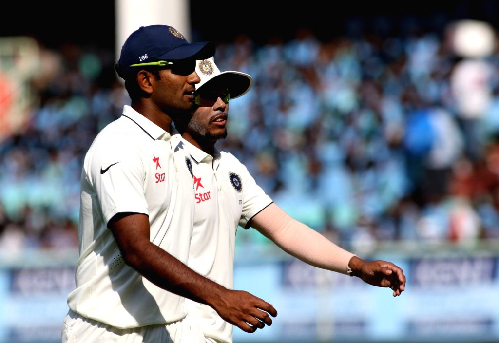 Jayant Yadav and Umesh Yadav of India during the Day-2 of the second test cricket match between India and England at the Dr. YS Rajasekhara Reddy ACA-VDCA Cricket Stadium in ... - Jayant Yadav, Umesh Yadav and Rajasekhara Reddy A