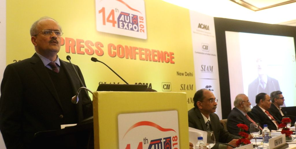 JCB India MD and CEO Vipin Sondhi addresses a press conference regarding 14th Auto Expo 2018, in New Delhi on Jan 30, 2018.