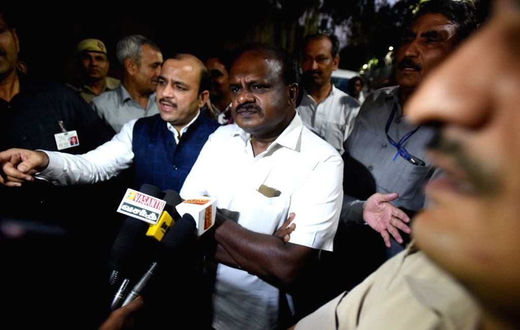 JD(S) leader Danish Ali and Karnataka Chief Minister designate H.D. Kumaraswamy talk to media persons after meeting Congress leaders Rahul Gandhi and Sonia Gandhi in New Delhi, on May 21, ... - Rahul Gandhi and Sonia Gandhi