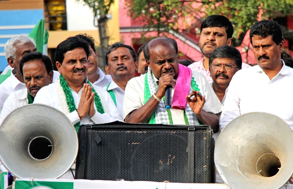 JD-S leader HD Kumaraswamy campaigns for the party's candidate for Mahalakshmi Layout by polls Girish K Nashi in Bengaluru, on Dec 3, 2019.