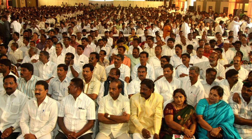 JD(S) leader's H. D. Revanna and N. Chaluvaraya Swamy during a party programme   in Bangalore on Aug 18, 2014.