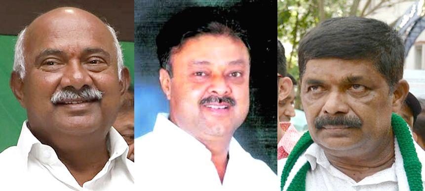 JD(S) MLAs Vishwanath, Narayan Gowda and Gopalaiah who were disqualified by Karnataka Assembly speaker KR Ramesh, in Bengaluru on July 28, 2019. (File Photo: IANS) - K