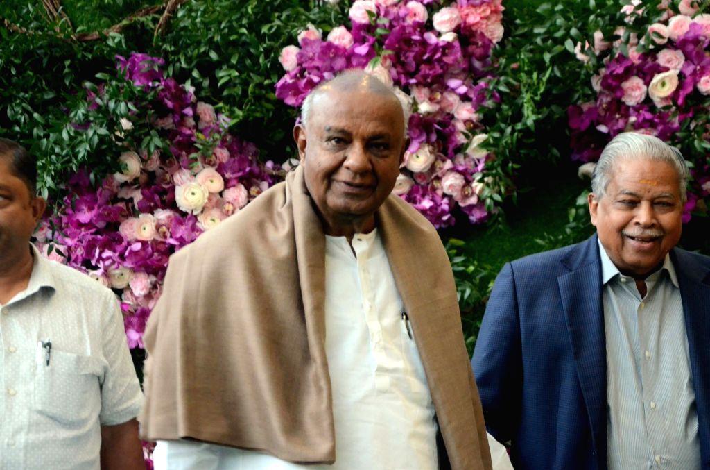 JD(S) supremo H.D. Deve Gowda at the wedding festivities of Akash Ambani and Shloka Mehta in Mumbai on March 9, 2019. - Akash Ambani and Shloka Mehta