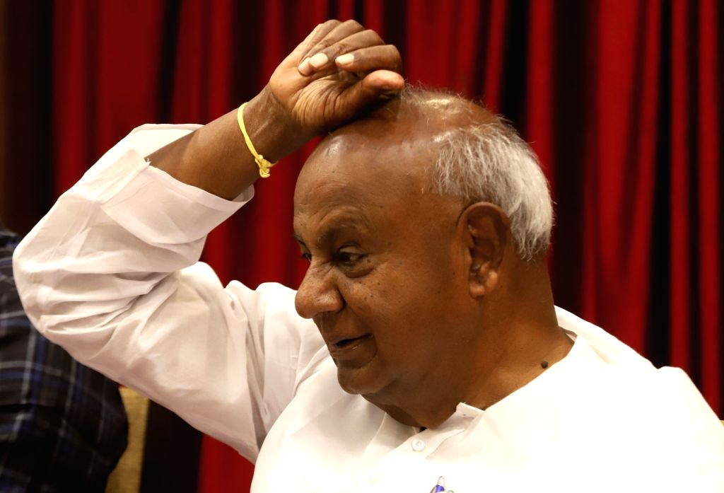 JD(S) supremo HD Deve Gowda during a press conference in Bengaluru, on March 26, 2018.