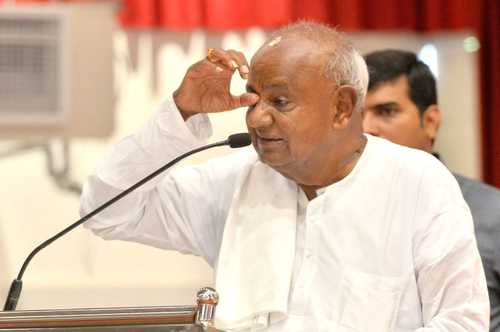 JD-S supremo HD Devegowda during a party programme in Bengaluru on June 7, 2019.