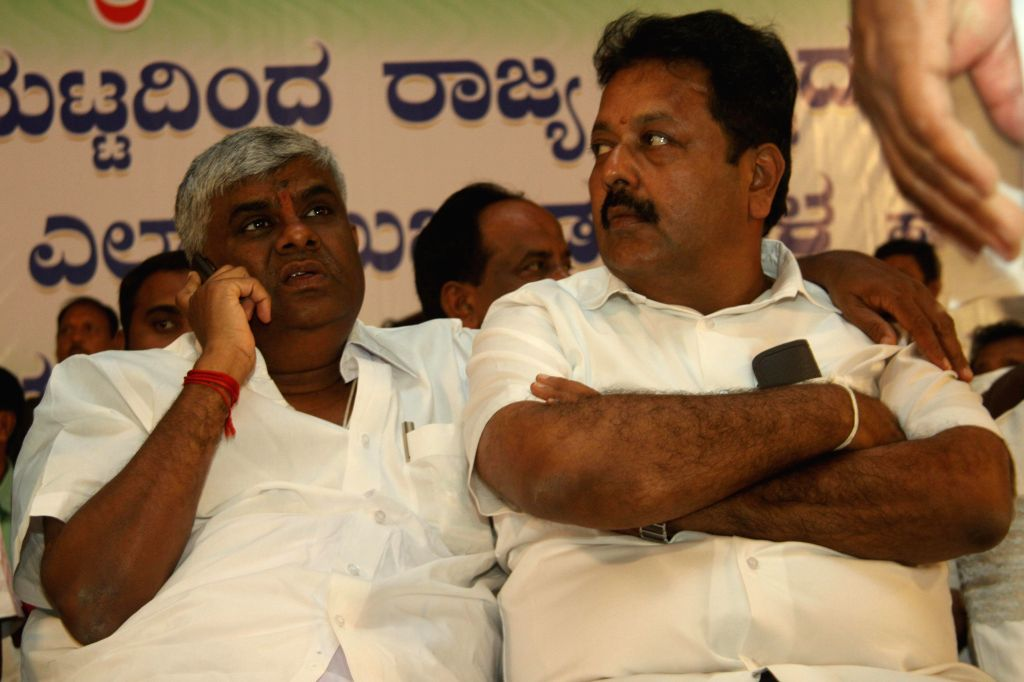 JD(S) workers during a party programme   in Bangalore on Aug 18, 2014.