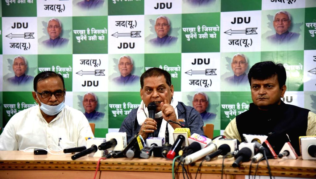 JD-U leader Neeraj Kumar addresses a press conference, in Patna on Nov 13, 2020. - Neeraj Kumar