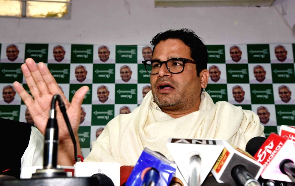 JD(U) leader Prashant Kishore addresses a press conference in Patna on Feb 11, 2019.