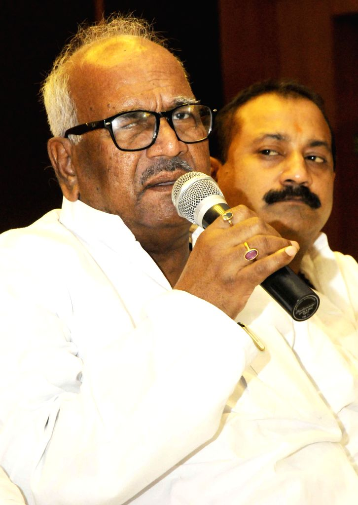 JD(U) leader Vashist Narayan Singh and Congress leader Ashok Choudhary during a press conference in Patna to announce their alliance to contest the upcoming Assembly by-elections in Bihar; on July ... - Vashist Narayan Singh and Ashok Choudhary