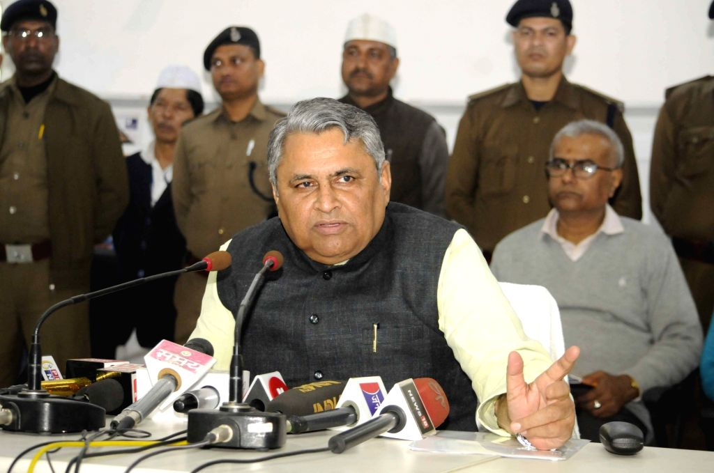 JD(U) leader Vijay Kumar Choudhary addresses a press conference in Patna on Feb 14, 2018. - Vijay Kumar Choudhary