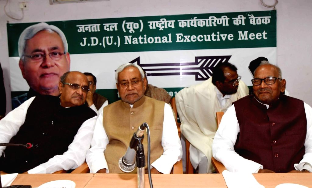JD(U) leaders Nitish Kumar and KC Tyagi during party's national executive meeting in Patna on March 4, 2019. - Nitish Kumar