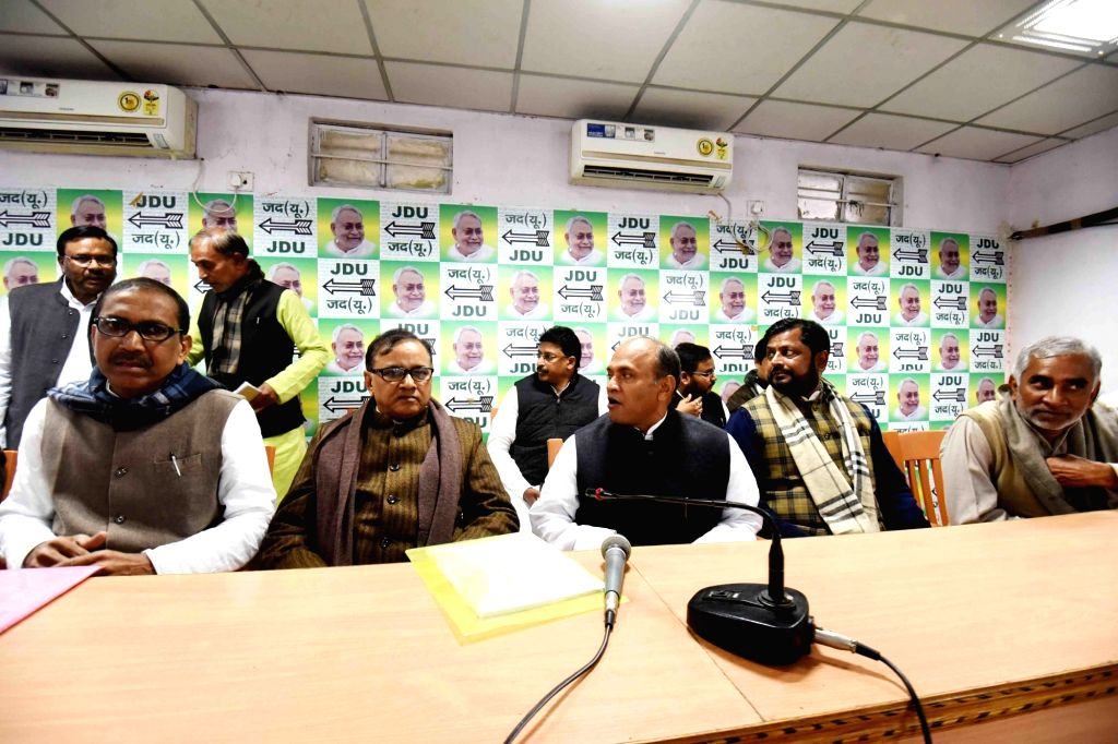 JD-U MP Ramchandra Prasad Singh addresses at a party meeting in Patna on Dec 13, 2019. - Ramchandra Prasad Singh