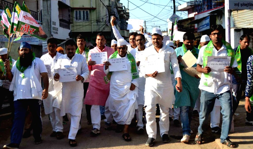 JDU workers participate in a an anti-liquor awareness rally in Patna on Oct 2, 2016.