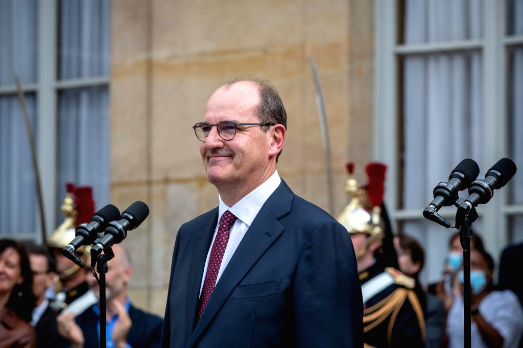 Jean Castex attends the handover ceremony in the courtyard of the Hotel Matignon in Paris, France, on July 3, 2020. Jean Castex, a 55-year-old top civil servant not ...