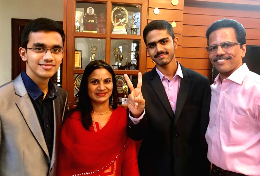 Jeffin Biju flashes victory sign after securing first rank in Engineering in the 2019 Karnataka Common Entrance Test (KCET) examinations, in Bengaluru on May 25, 2019.