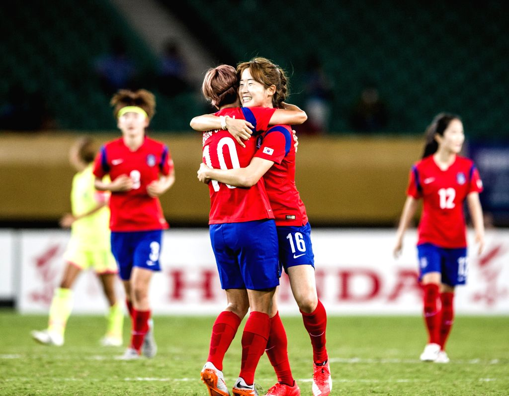 Jeon Ga Eul (L) of South Korea celebrates goal with teammate during the match against Japan at the 2015 EAFF(East Asian Football Federation) Women's East Asian Cup in ...