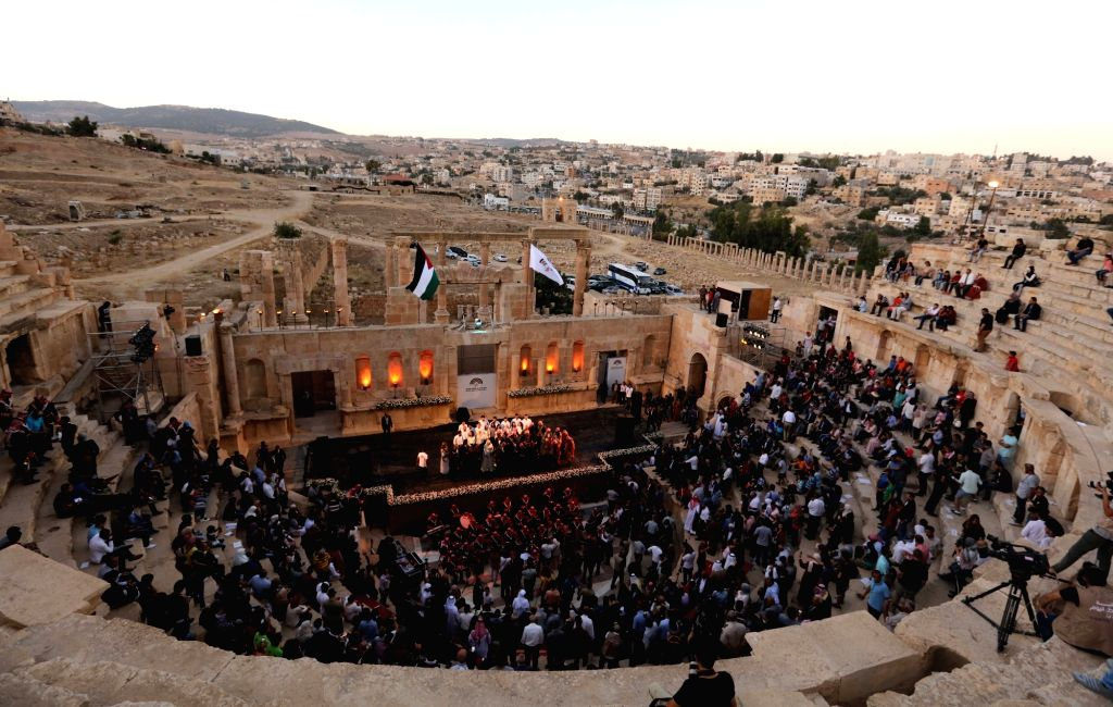 JERASH (JORDAN), July 19, 2018 People attend the opening ceremony of Jerash Festival in Jerash, Jordan, July 19, 2018. The 33rd Jerash Festival for Culture and Arts was launched Thursday ...