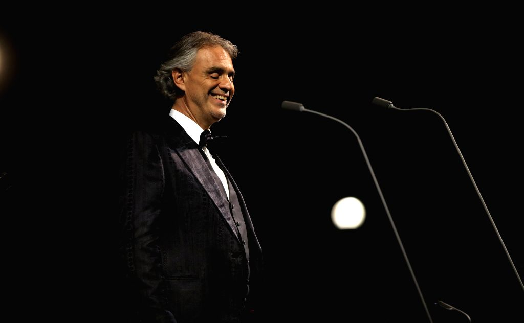 JERASH, Sept. 19, 2017 - Italian tenor Andrea Bocelli performs during a concert at the archaeological site of Jerash, some 50 kilometres north of Jordanian capital Amman, on Sept. 18, 2017.