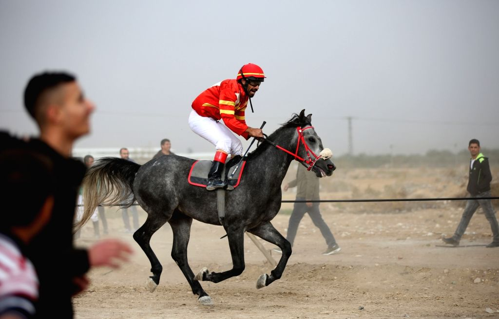 JERICHO, Feb. 21, 2019 - A Palestinian equestrian rides his horse during a local competition in the West Bank city of Jericho, on Feb. 15, 2019. Once every two weeks prior to spring time in the West ...