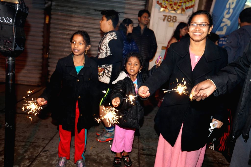 Jersey City: Indian Americans celebrate Diwali with fireworks in Jersey City  in New Jersey, US on Oct 30, 2016.